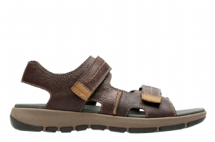 Clarks Mens Brixby Shore Dark Brown Leather Sandals